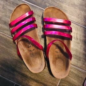 Birkenstock original fussbett pink straps shoes